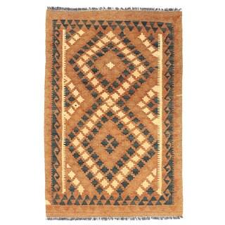 Herat Oriental Afghan Hand-woven Wool Mimana Kilim (2'6 x 3'11)
