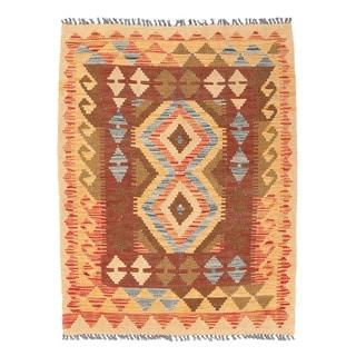Herat Oriental Afghan Hand-woven Wool Mimana Kilim (2'11 x 3'11)