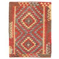 Herat Oriental Afghan Hand-woven Wool Mimana Kilim - 2'10 x 3'10
