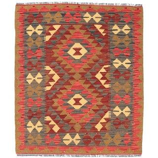 Herat Oriental Afghan Hand-woven Wool Mimana Kilim (2'10 x 3'5)