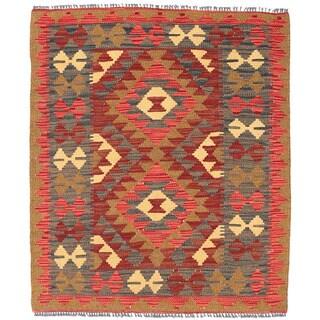 Handmade Herat Oriental Afghan Wool Mimana Kilim - 2'10 x 3'5 (Afghanistan)