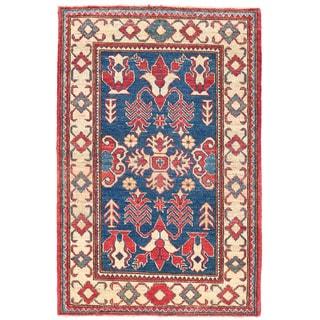 Herat Oriental Afghan Hand-knotted Kazak Blue/ Ivory Wool Rug (3'2 x 4'9)