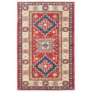 Herat Oriental Afghan Hand-knotted Kazak Wool Rug (3'1 x 4'10)