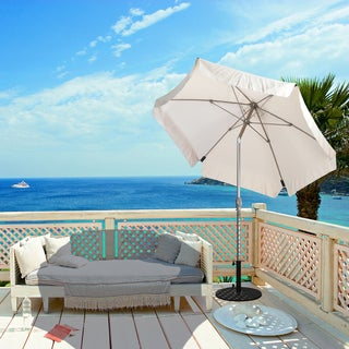 California Umbrella 7.5' Rd. Wind Resistance Market Umbrella, Crank Open, Push Button Tilt, Champagne Finish, Polyester Fabric