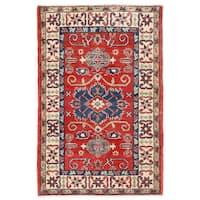 Handmade Herat Oriental Afghan Kazak Wool Rug (Afghanistan) - 2'7 x 3'11