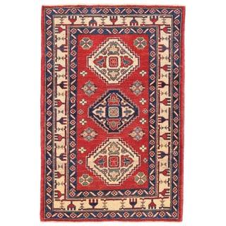 Herat Oriental Afghan Hand-knotted Kazak Wool Rug (2'8 x 4')