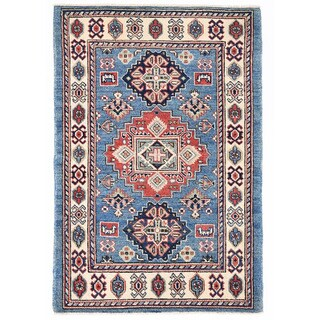 Herat Oriental Afghan Hand-knotted Kazak Light Blue/ Ivory Wool Rug (2' x 2'10)