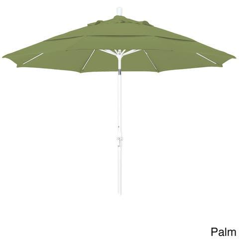 California Umbrella 11' Rd. Alum/Fiberglass Rib Market Umb,Crank Lift/Collar Tilt, Dbl Wind Vent, White Finish, Pacifica Fabric