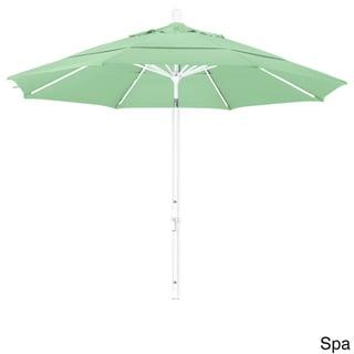 California Umbrella 11 Rd. Aluminum Market Umbrella, Crank Lift, Collar Tilt, Dbl Wind Vent, White Finish, Pacifica Fabric (White Finish/Spa -