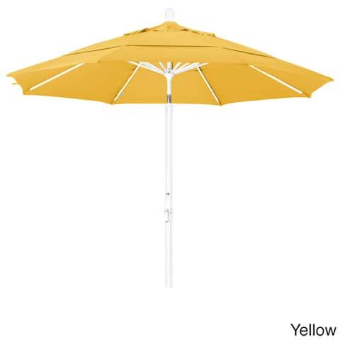 California Umbrella 11' Rd. Aluminum Market Umbrella, Crank Lift, Collar Tilt, Dbl Wind Vent, White Finish, Pacifica Fabric