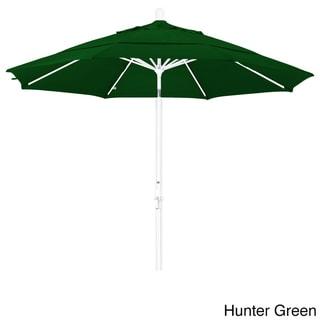 California Umbrella 11 Rd. Aluminum Market Umbrella, Crank Lift, Collar Tilt, Dbl Wind Vent, White Finish, Pacifica Fabric (White Finish/Hunter