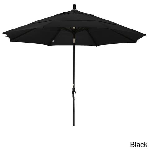 California Umbrella 11' Rd. Aluminum Market Umbrella, Crank Lift, Collar Tilt, Dbl Wind Vent, Black Finish, Pacifica Fabric