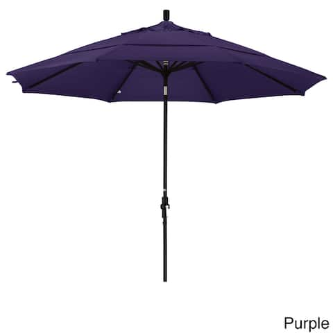 California Umbrella 11' Rd. Aluminum Market Umbrella, Crank Lift, Collar Tilt, Dbl Wind Vent, Black Finish, Pacifica Fabric