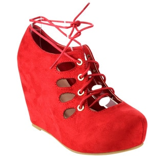 Pazzle Women's Lace-up Hidden Wedges