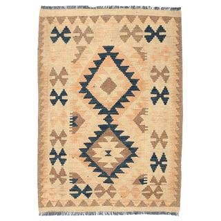 Herat Oriental Afghan Hand-woven Wool Mimana Kilim (2'4 x 3'3)