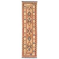 Handmade Herat Oriental Afghan Mimana Kilim Wool Runner - 2'7 x 9'10 (Afghanistan)