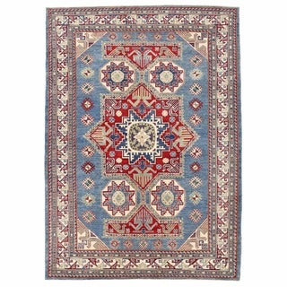 Herat Oriental Afghan Hand-knotted Kazak Light Blue/ Ivory Wool Rug (6' x 8'5)