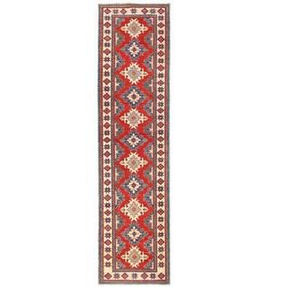 Herat Oriental Afghan Hand-knotted Kazak Red/ Ivory Wool Runner (2'9 x 11'1)