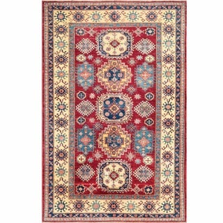 Herat Oriental Afghan Hand-knotted Kazak Ivory/ Light Blue Wool Rug (2'7 x 9'7)