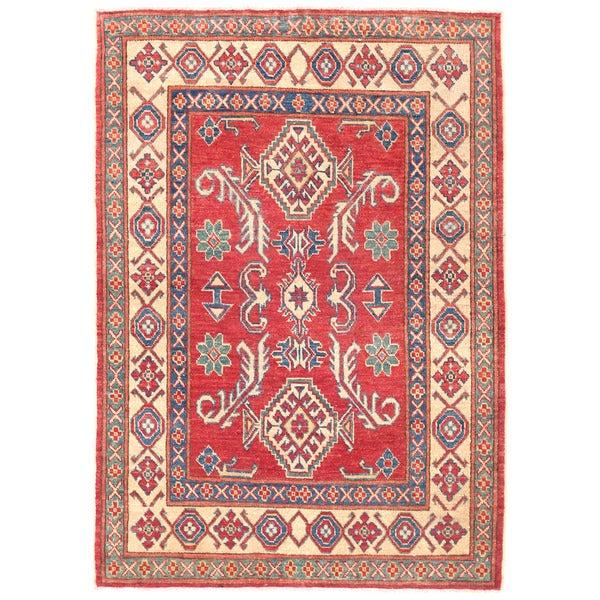 Herat Oriental Afghan Hand-knotted Kazak Wool Rug (3'8 x 5'2)
