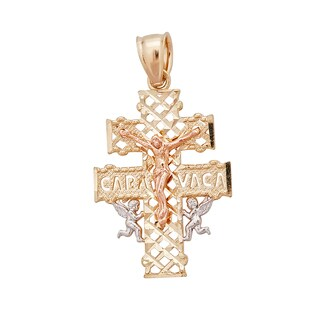 14k Gold Tri-color Caravaca Cross Pendant