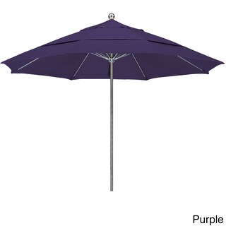 California Umbrella 11' Rd. Stainless Steel Contract Market Umbrella, Push Open, Dbl Wind Vent, Silver Finish, Pacifica Fabric (Option: silver finish/Purple)