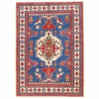 Herat Oriental Afghan Hand-knotted Kazak Blue/ Ivory Wool Rug (4'6 x 6'3)