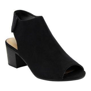 City Classified IB69 Women's Stacked Block Heel Cutout Ankle Strap Bootie (Option: 7)