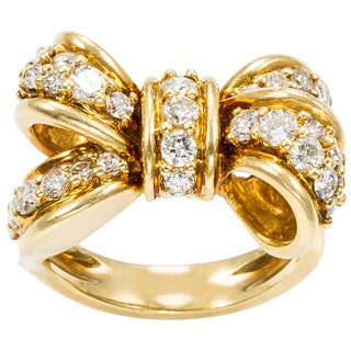 18K Yellow Gold 1 1/2ct TDW Estate Bow Ring (G-H, SI1-SI2)