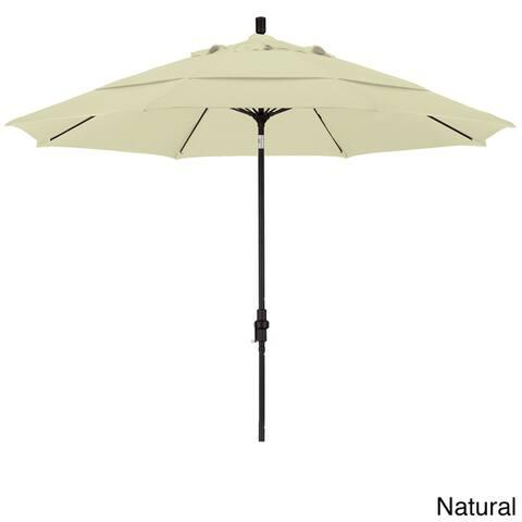 California Umbrella 11' Rd. Alum/Fiberglass Rib Market Umb,Crank Lift/Collar Tilt, Dbl Wind Vent, Black Finish, Olefin Fabric