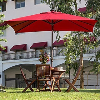 Abba Patio Dark Red Aluminum/Steel/Polyester 7' x 9' Rectangular Solar Powered LED 28-light Outdoor Umbrella with Tilt