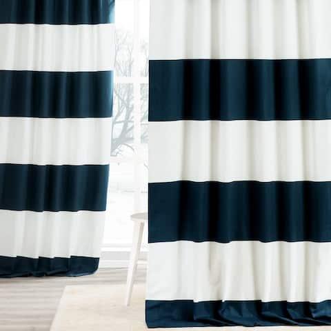 Exclusive Fabrics Cabana Cotton Horizontal Stripe 84-inch Curtain Panel