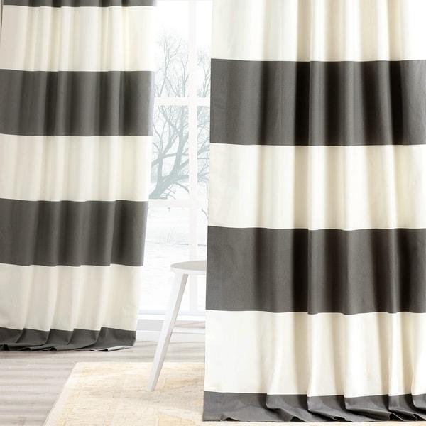 Exclusive Fabrics Cabana Cotton Horizontal Stripe 96-inch Curtain Panel. Opens flyout.