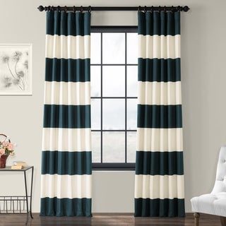 Exclusive Fabrics Cabana Cotton 96-inch Horizontal Stripe Curtain Panel (As Is Item)