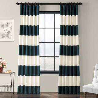Exclusive Fabrics Cabana Cotton Horizontal Stripe 96-inch Curtain Panel - 50 X 96