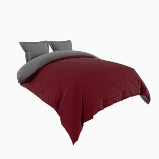 Porch & Den Woodland Springs Lakeshore Down Alternative Burgundy and Grey Reversible 3-piece Microfiber Comforter Set