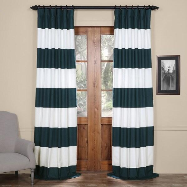 Exclusive Fabrics Cabana Cotton Horizontal Stripe 108 Inch Curtain Panel
