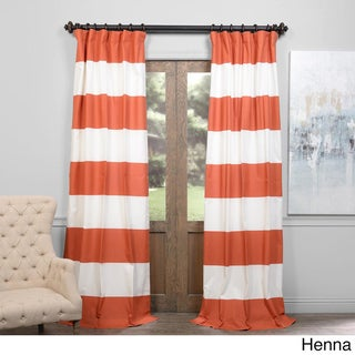 Exclusive Fabrics Cabana Cotton 108-inch Horizontal Stripe Curtain Panel