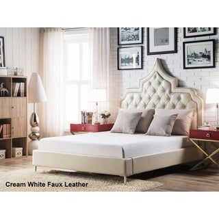 Chic Home Casablanca Cream White Bonded Leather Button-tufted Silver Nailhead Trim Bed Frame