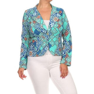 MOA Collection Women's Plus-size Printed Polyester Spandex Blazer