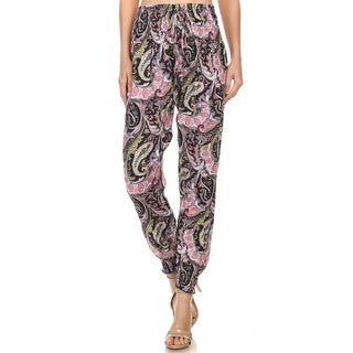 MOA Collection Women's Multicolored Rayon Paisley Abstract Pants