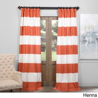 Exclusive Fabrics Cabana Cotton Horizontal Stripe 120-inch Curtain Panel