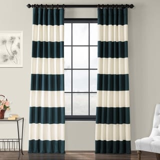 Exclusive Fabrics Cabana Cotton Horizontal Stripe 120-inch Curtain Panel