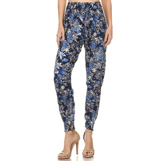 MOA Collection Women's Multicolor Rayon Floral Abstract Jogger Pants