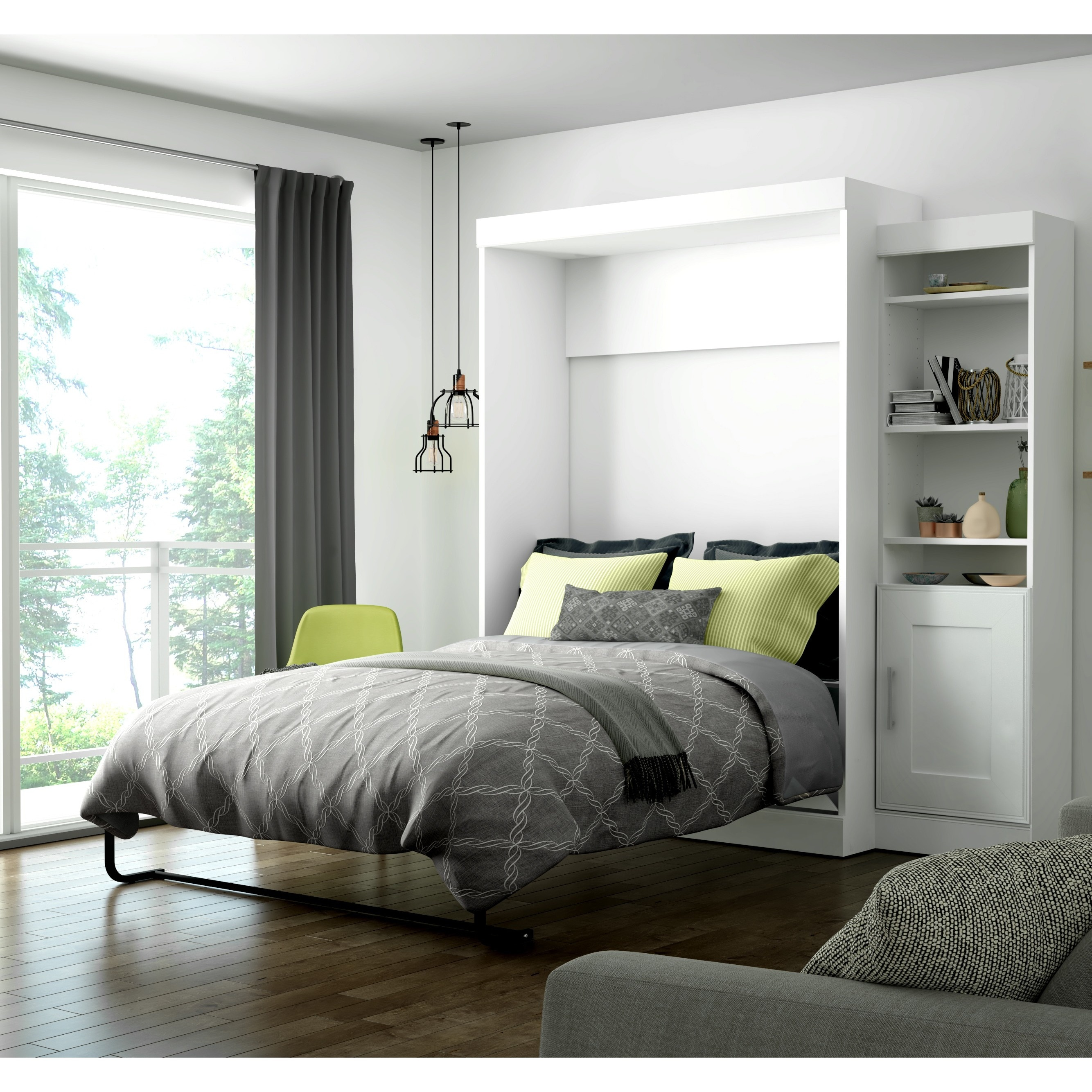 Edge by Bestar Full Wall Bed with 21-inch Storage Unit an...