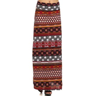 MOA Collection Women's Red Polyester/Spandex Bohemian Maxi Skirt