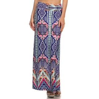 MOA Collection Women's Border Aztec Multicolor Polyester/Spandex Maxi Skirt
