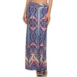 MOA Collection Women's Border Aztec Multicolor Polyester/Spandex Maxi Skirt