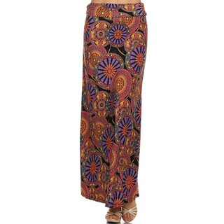 MOA Collection Women's Medallion Polyester Multicolored Maxi Skirt