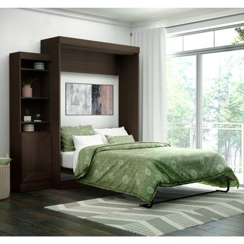 Edge by Bestar Queen Wall Bed with 21-inch Storage Unit and Door